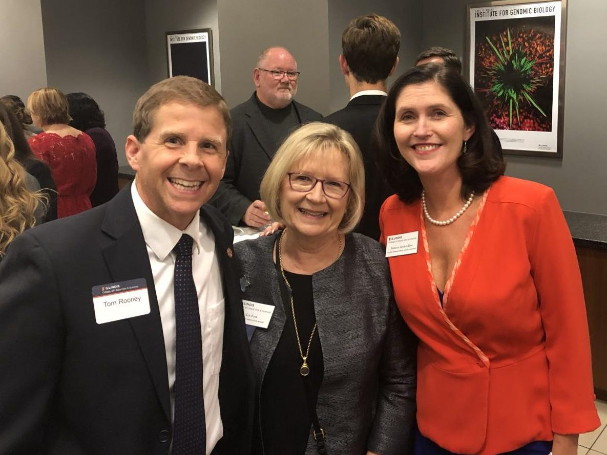 Senator Tom Rooney, Kris Ford (College of LAS alumna) and Rebecca Snyder Darr (2018 LAS Alumni Humanitarian Award recipient) pose for a photo at the LAS Alumni Awards Ceremony on Oct. 11, 2018. Darr was honored for her work as the CEO of WINGS, a program dedicated to providing a safe space to victims of domestic abuse.