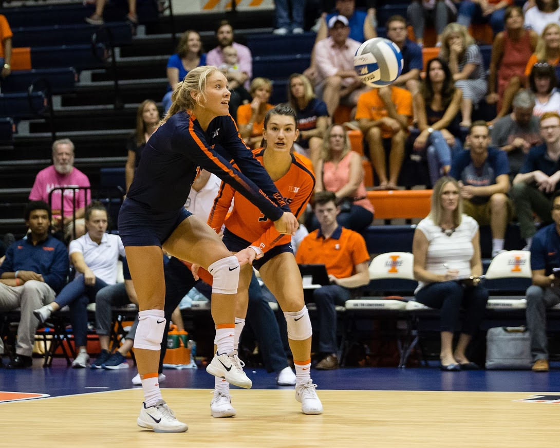 Illinois defensive specialist Morgan O'Brien (16) passes the ball during the match against Northern Iowa at Huff Hall on Friday, Sept. 14, 2018. The Illini won 3-0.