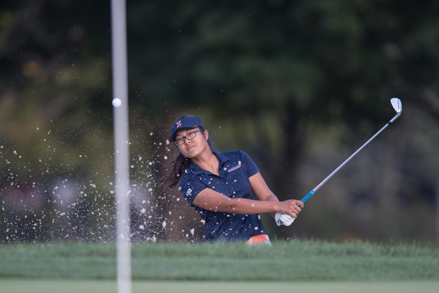 Sophomore Crystal Wang hits the ball at the Illini Women's Invite at Medinah on Oct. 10, 2018. The Illini are headed to Wilmington, North Carolina, for the Landfall Tradition this weekend.