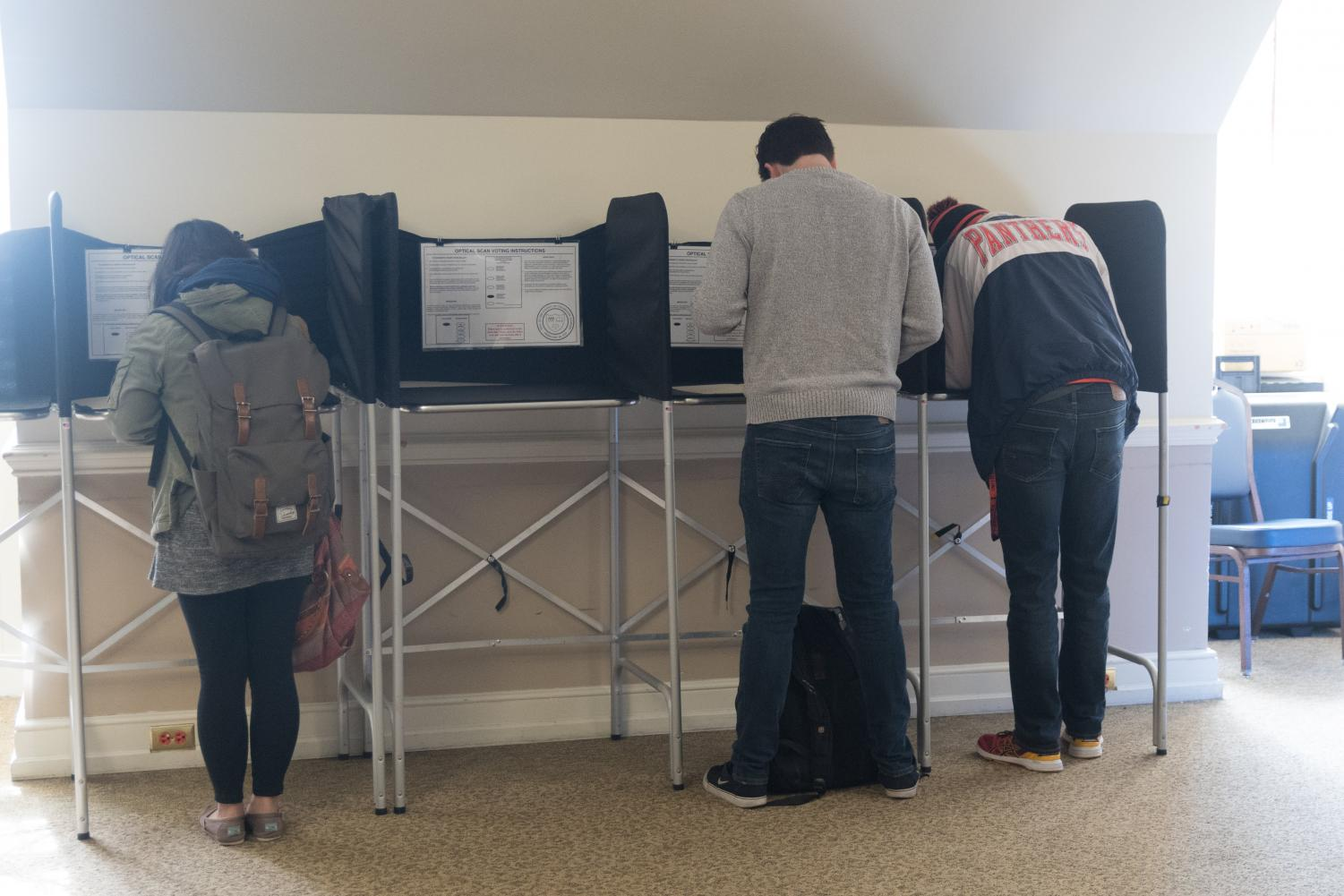 University students vote early at the Illini Union on Saturday. The University joined the Big Ten Voting Challenge, hoping for the most improved voter turnout.