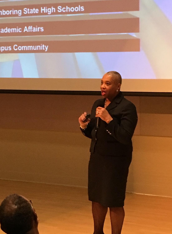 Finalist Karen Jones, chief diversity officer from Buffalo State College, presented her speech at the Spurlock Museum.