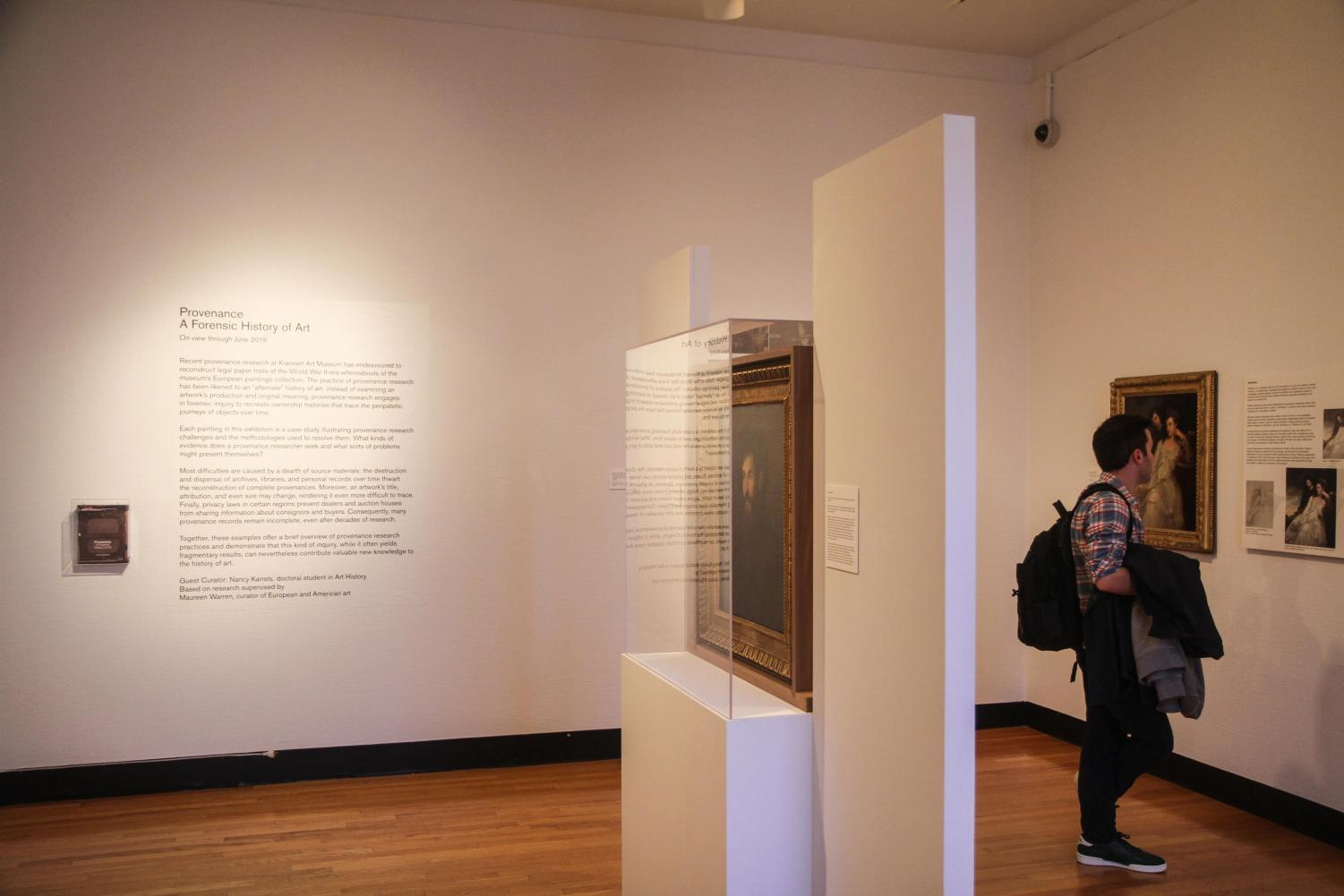The provenance exhibit at the Krannert Art Museum. Nancy Karrels proposed the idea for a provenance research project two years ago and has been conducting research for the exhibit that opened in May of 2017.