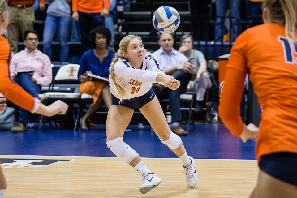 Illinois defensive specialist Megan O'Brien (16) passes the ball during the match against Eastern Michigan at Huff Hall on Friday, Nov. 30, 2018. The Illini won 3-0.