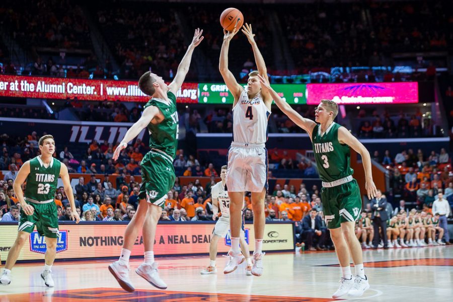 Illinois forward Zach Griffith (4) shoots the ball during the game against Illinois Wesleyan at State Farm Center on Friday, Nov. 2, 2018.