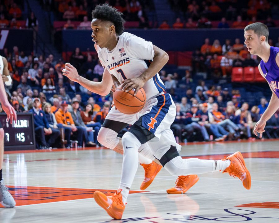 Illinois+guard+Trent+Frazier+%281%29+drives+to+the+basket+during+the+game+against+Evansville+at+State+Farm+Center+on+Thursday%2C+Nov.+8%2C+2018.
