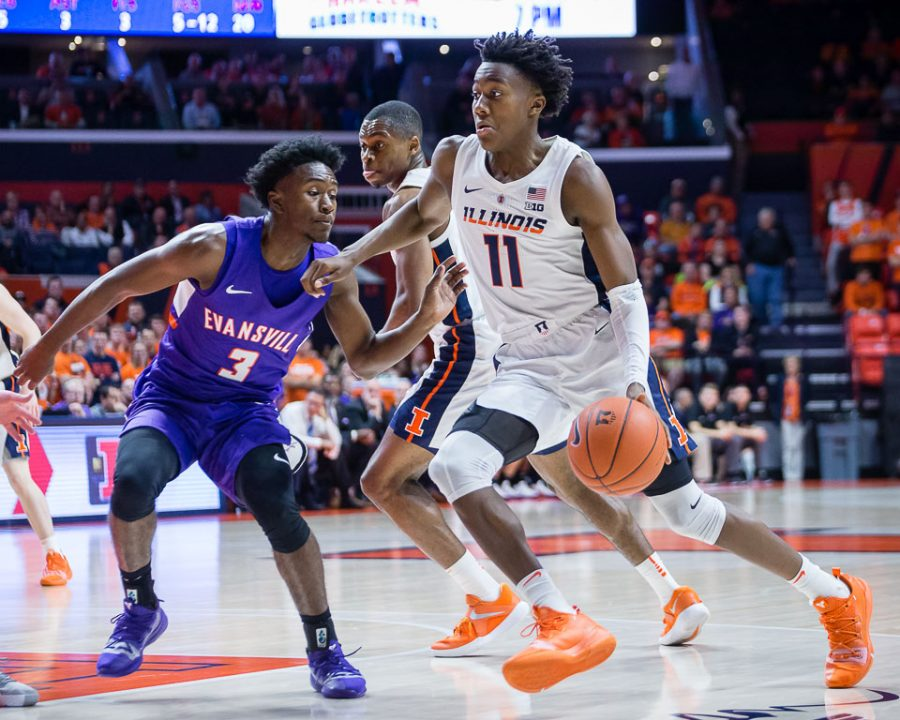 Illinois+guard+Ayo+Dosunmu+%2811%29+drives+to+the+basket+during+the+game+against+Evansville+at+State+Farm+Center+on+Thursday%2C+Nov.+8%2C+2018.