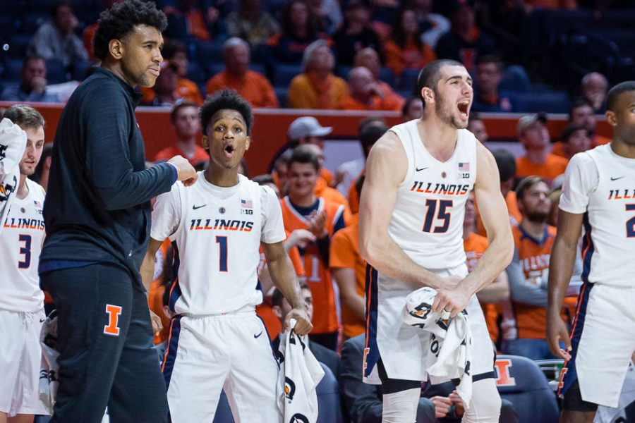 Illinois+guard+Trent+Frazier+%281%29+and+forward+Giorgi+Bezhanishvili+%2815%29+celebrate+from+the+bench+during+the+game+against+Evansville+at+State+Farm+Center+on+Thursday%2C+Nov.+8%2C+2018.