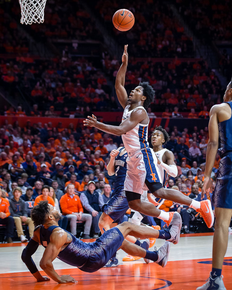 Illinois guard Andres Feliz (10) puts up a floater during the game against Georgetown at State Farm Center on Tuesday, Nov. 13, 2018.