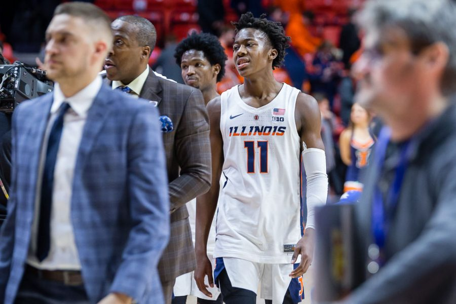 Illinois+guard+Ayo+Dosunmu+%2811%29+walks+off+the+court+after+the+game+against+Georgetown+at+State+Farm+Center+on+Tuesday%2C+Nov.+13%2C+2018.