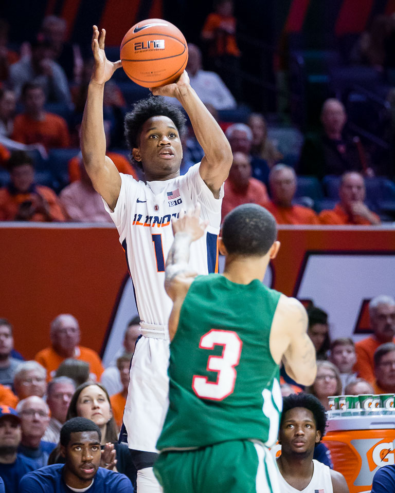 Illinois guard Trent Frazier (1) shoots a three during the game against Mississippi Valley State at State Farm Center on Sunday, Nov. 25. The Illini won 86-67.