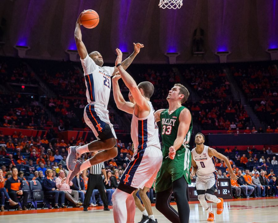 Illinois+senior+guard+Aaron+Jordan+%2823%29+goes+up+for+a+dunk+during+the+game+against+Mississippi+Valley+State+at+the+State+Farm+Center+on+Sunday.+The+Illini+won+86-67.