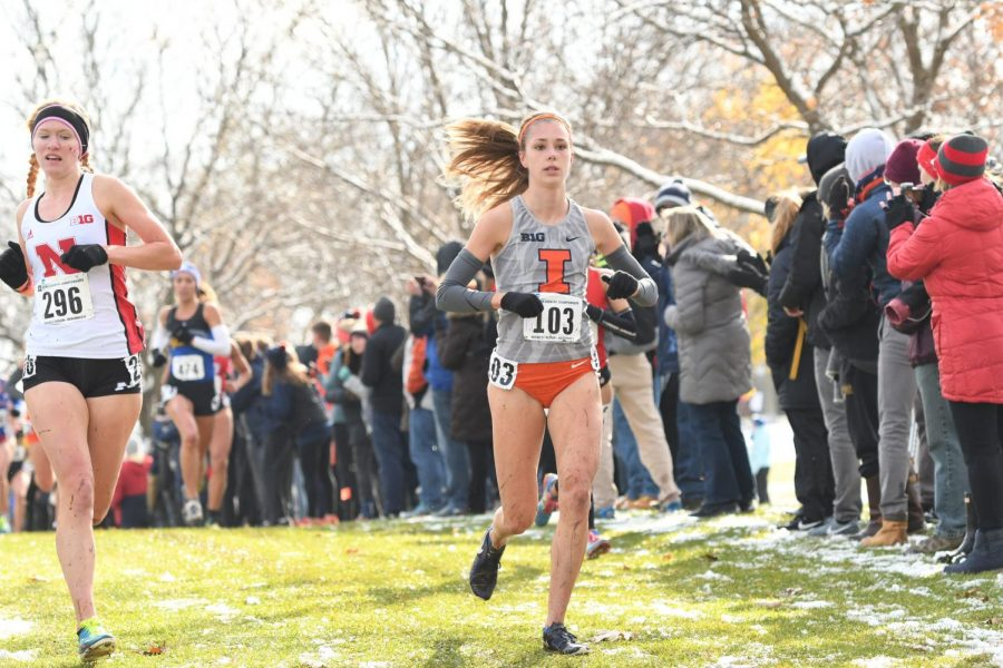 Sophomore+Allison+McGrath+runs+at+the+Midwest+Regional+on+Nov.+9.+McGrath+topped+the+Illini+with+a+18th-place+finish+overall+and+a+personal+best+in+the+6K.