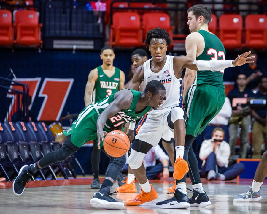Illinois+guard+Ayo+Dosunmu+plays+defense+during+the+game+against+Mississippi+Valley+State+at+State+Farm+Center+on+Sunday.+The+Illini+won+86-67.