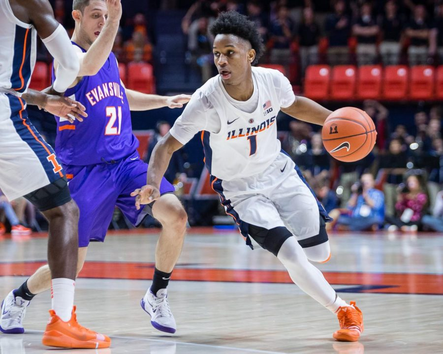 Illinois+guard+Trent+Frazier+%281%29+drives+to+the+basket+during+the+game+against+Evansville+at+State+Farm+Center+on+Thursday%2C+Nov.+8%2C+2018.+The+Illini+won+99-60.