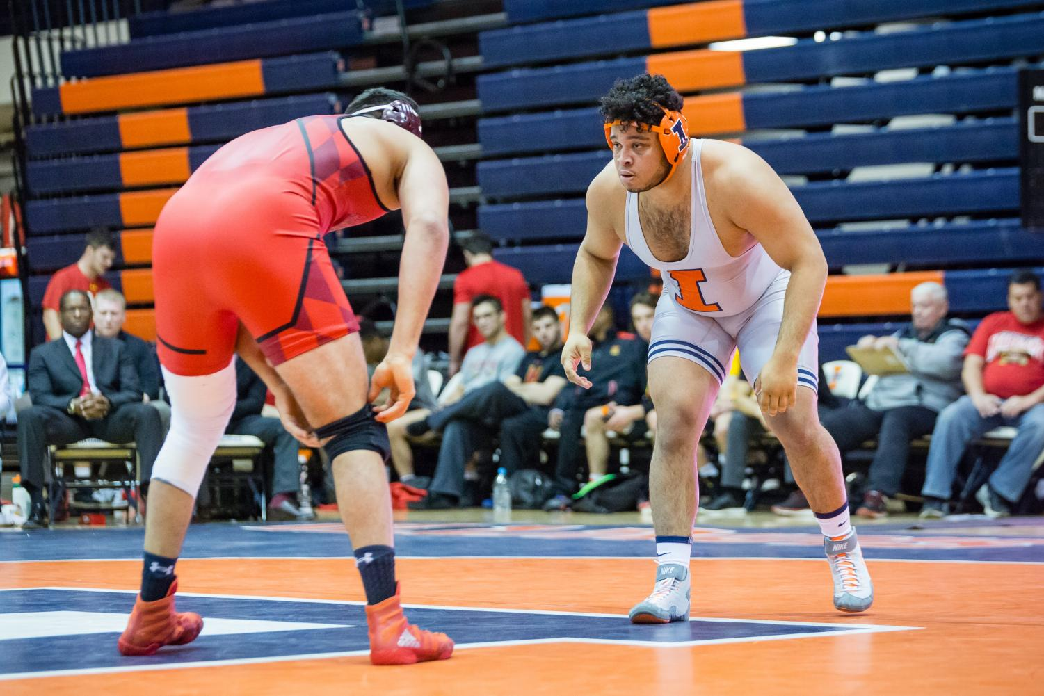 Illinois' Deuce Rachal wrestles with Maryland's Youssif Hemida in the 285-pound weight class during the meet at Huff Hall on Jan. 28. The Illini won 25-18. Rachal will compete this year alongside his two brothers who joined the program.
