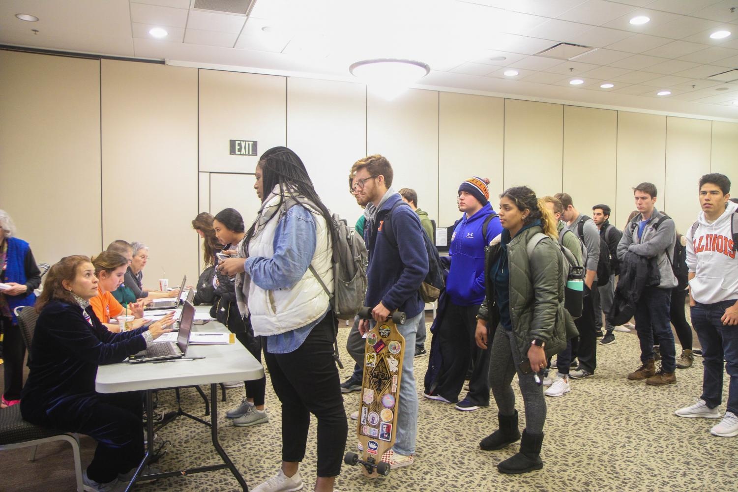 Students lined up at Ikenberry Hall to vote on election day.