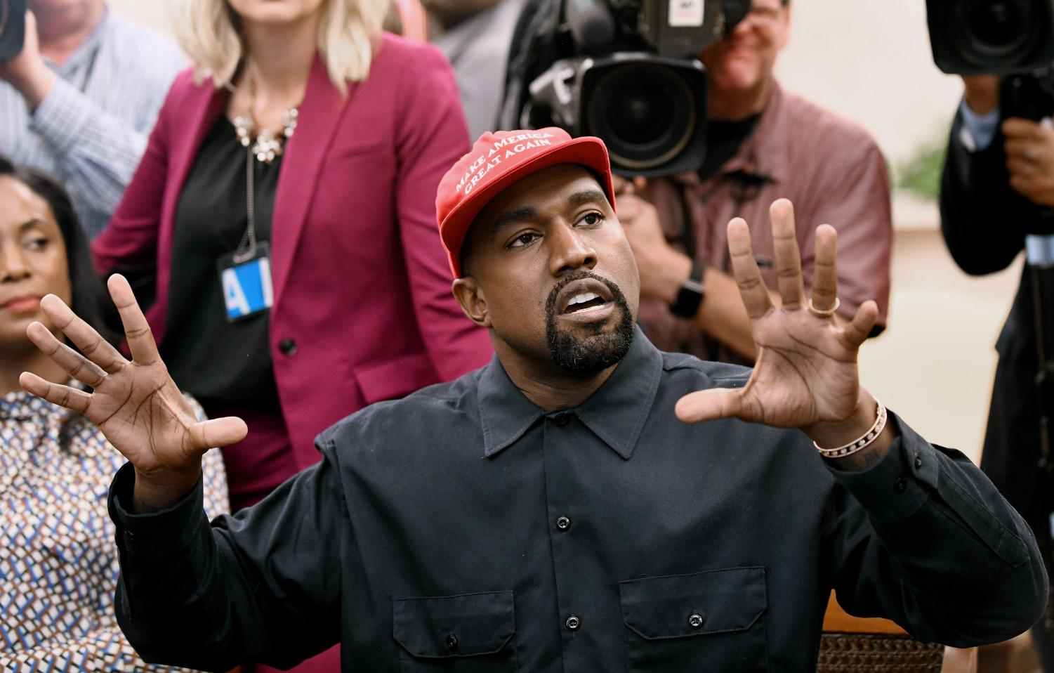 Musical artist Kanye West speaks in the Oval Office of the White House during a meeting with President Donald Trump to discuss criminal justice system and prison reform on Thursday, Oct. 11, 2018 in Washington, D.C.
