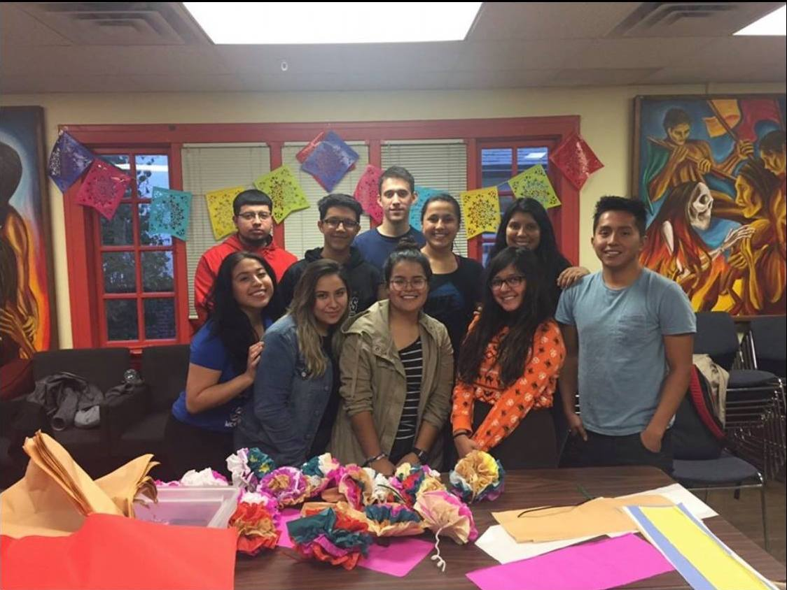 Member of I-CAUSE at a general meeting at the La Casa Cultural Latina House. I-CAUSE is a group of undocumented and DACA students and staff at the University. Its mission is to educate community members and help other undocumented students.