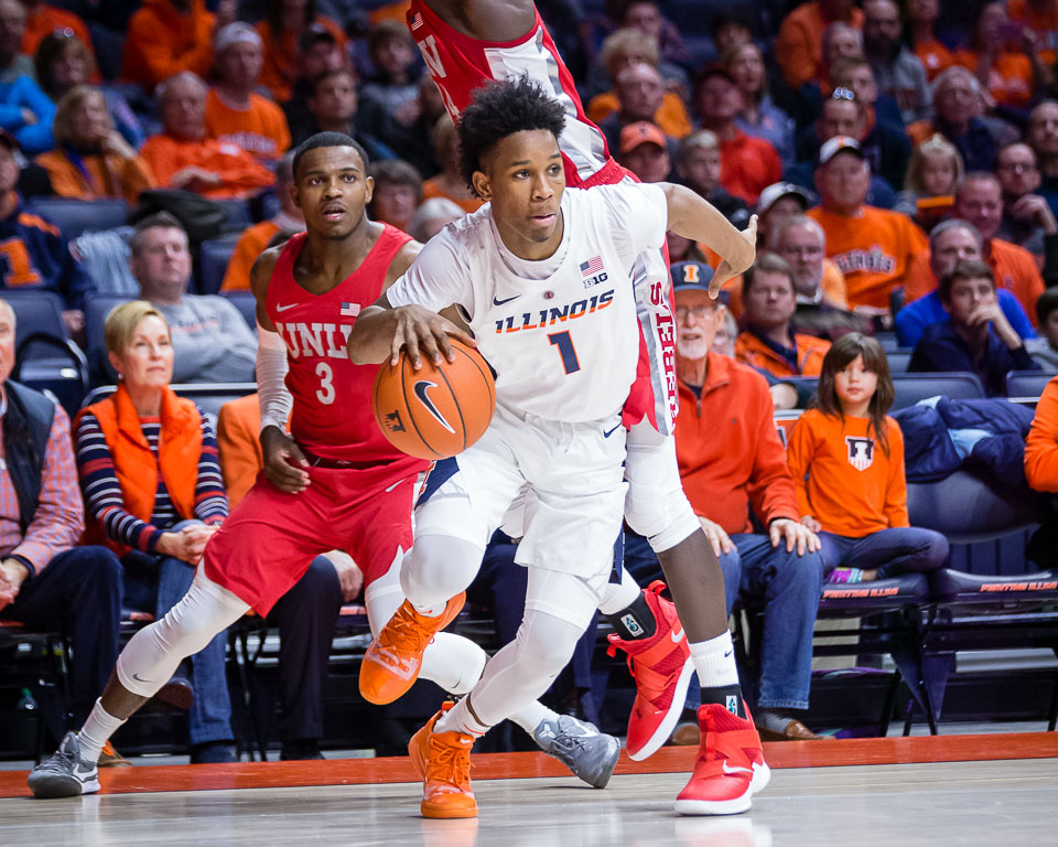Illinois guard Trent Frazier (1) drives to the basket during the game against University of Nevada, Las Vegas at State Farm Center on Saturday, Dec. 8.