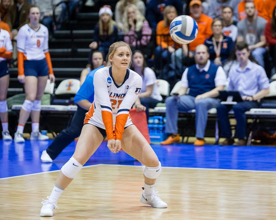 Illinois+defensive+specialist+Caroline+Welsh+%2821%29+gets+ready+to+pass+the+ball+during+the+match+against+Wisconsin+in+the+Elite+Eight+of+the+NCAA+tournament+at+Huff+Hall+on+Saturday%2C+Dec.+8%2C+2018.+The+Illini+won+3-1.