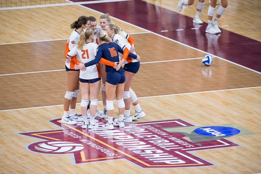 The+Illini+huddle+together+after+losing+the+third+set+in+the+match+against+Nebraska+in+the+Final+Four+of+the+NCAA+tournament+at+the+Target+Center+in+Minneapolis%2C+Minnesota%2C+on+Thursday%2C+Dec.+13%2C+2018.+Nebraska+defeated+Illinois+3-2.