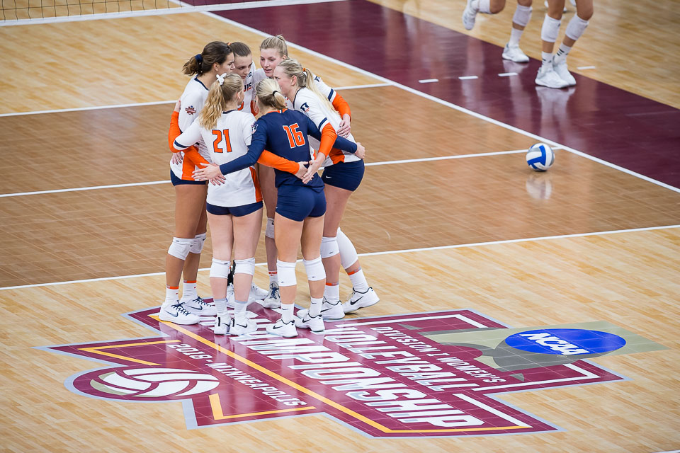 The Illini huddle together after losing the third set in the match against Nebraska in the Final Four of the NCAA tournament at the Target Center in Minneapolis, Minnesota, on Thursday, Dec. 13, 2018. Nebraska defeated Illinois 3-2.