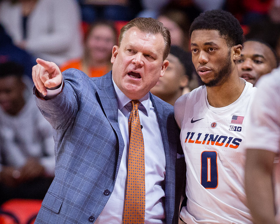 Illinois head coach Brad Underood talks to guard Alan Griffin (0) during the game against UNLV at State Farm Center on Saturday, Dec. 8, 2018.