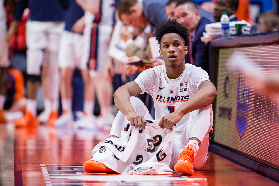 Illinois guard Trent Frazier (1) waits to enter the game during the game against UNLV at State Farm Center on Saturday, Dec. 8.