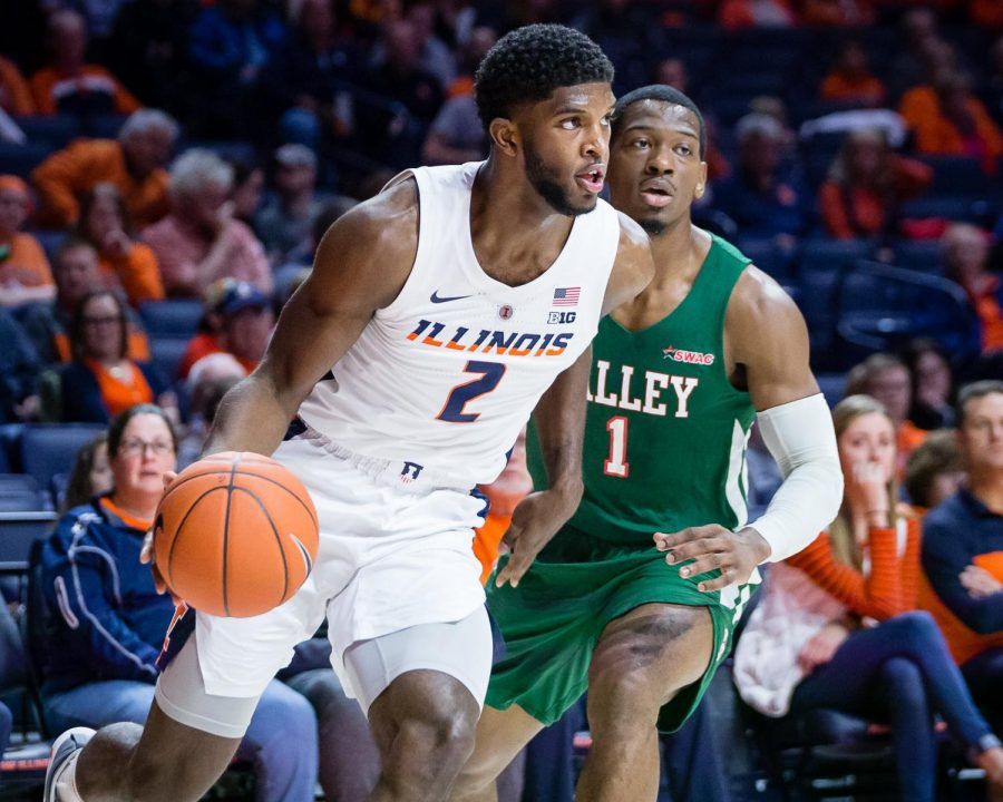 Illinois+forward+Kipper+Nichols+drives+to+the+basket+during+the+game+against+Mississippi+Valley+State+at+State+Farm+Center+on+Nov.+25.+The+Illini+won+86-67.