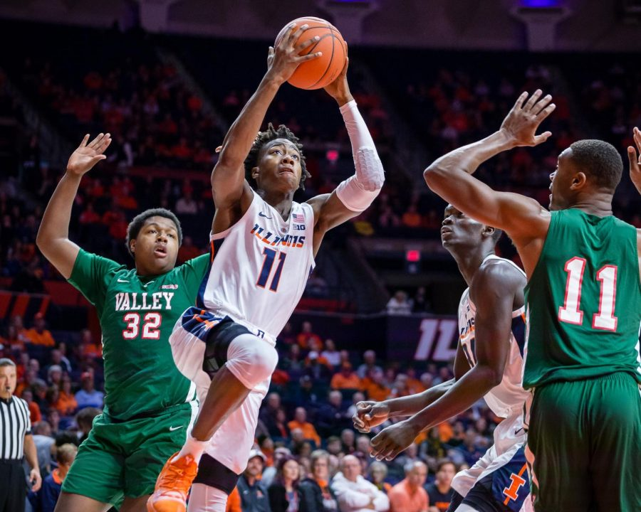 Illinois+guard+Ayo+Dosunmu+goes+up+for+a+layup+during+the+game+against+Mississippi+Valley+State+at+State+Farm+Center+on+Nov.+25.+The+freshman+has+been+a+key+part+of+the+Illini%E2%80%99s+early+season+start.