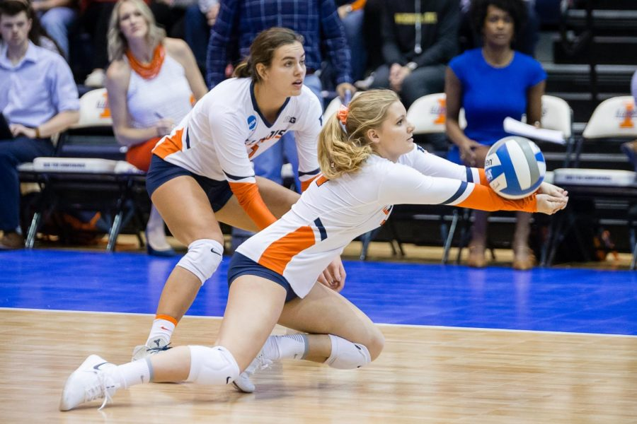 Illinois+defensive+specialist+Caroline+Welsh+%2821%29+digs+the+ball+during+the+match+against+Wisconsin+in+the+Elite+Eight+of+the+NCAA+tournament+at+Huff+Hall+Saturday.+The+Illini+won+3-1.