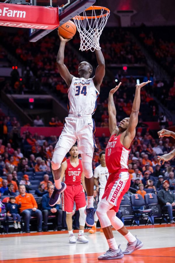 Illinois+center+Samba+Kane+goes+up+for+a+layup+during+the+game+against+UNLV+at+the+State+Farm+Center+on+Saturday.+The+Illini+won+77-74.