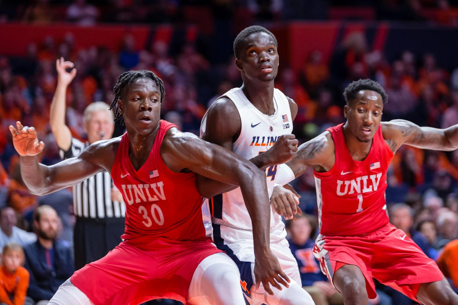 Illinois center Samba Kane fights for a position to rebound a free throw during the game against UNLV at the State Farm Center on Saturday. The Illini won 77-74.