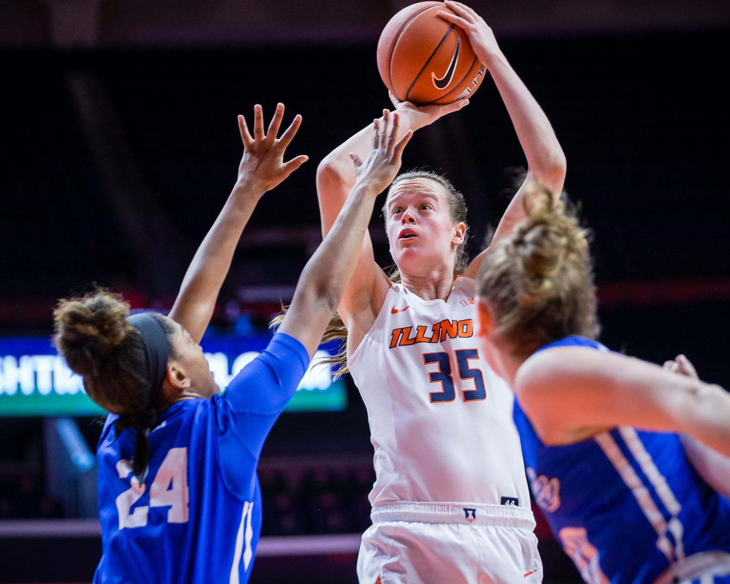 Illinois forward Alex Wittinger rises up to shoot the ball during the game against Indiana State at the State Farm Center on Dec. 5. The Illini won 75-57.