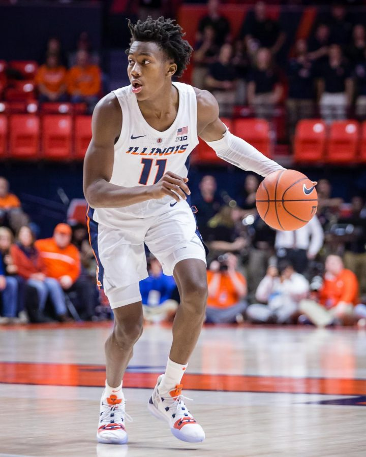 Illinois+guard+Ayo+Dosunmu+dribbles+the+ball+during+the+game+against+UNLV+at+State+Farm+Center+on+Saturday.+