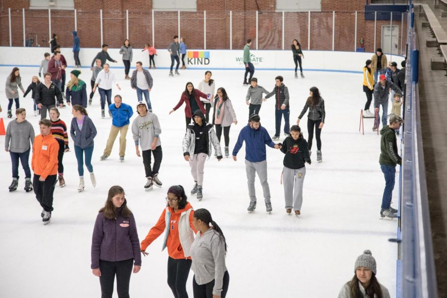 Students+ice+skate+at+the+University+Ice+Arena+on+Saturday.