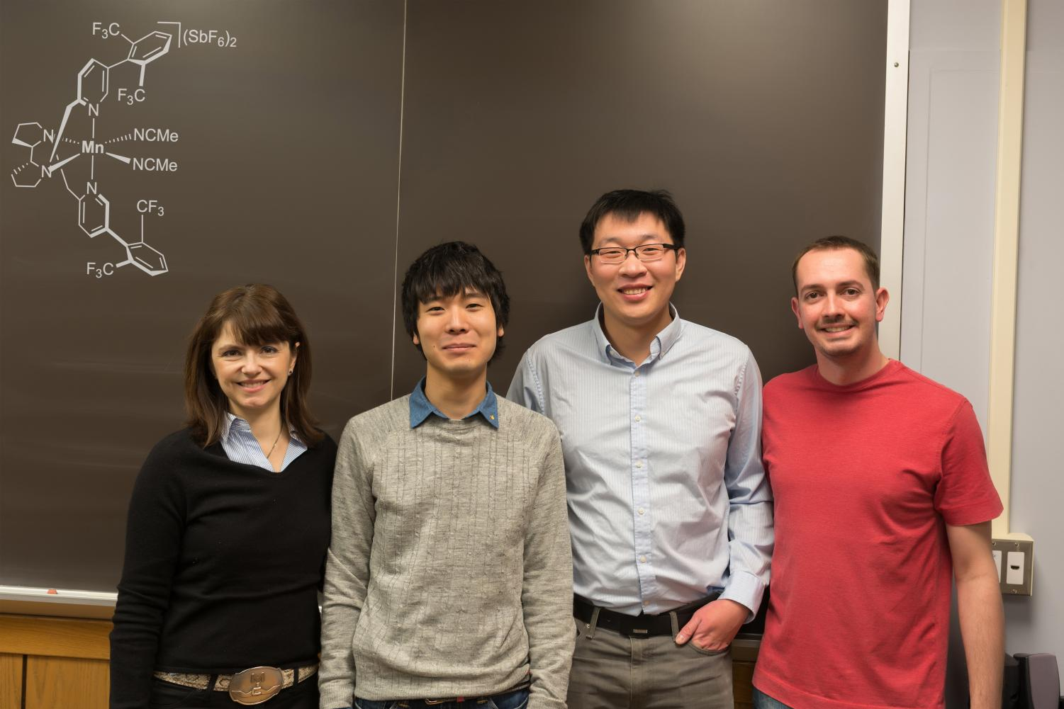 From left to right: Professor M. Christina White, Dr. Takeshi Nanjo, Jinpeng Zhao (lead author) and Dr. Emilio de Lucca Jr. The group has developed a catalyst that will change the future of medicine and pharmaceuticals.