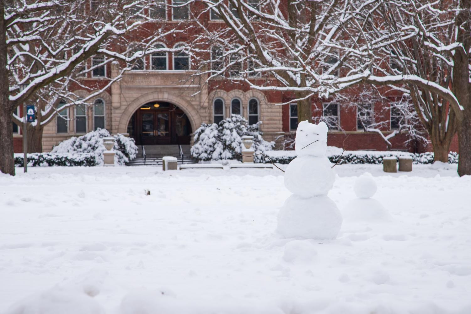 A snowman on the Main Quad stands in front of the Noyes Laboratory of Chemistry on Jan. 13.