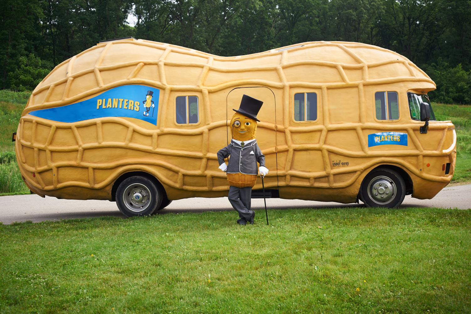 The Planters Peanutters, advertising specialists who work for the company, travel the nation visiting various cities in this peanut-shaped truck, often joined by the brand's mascot, Mr. Peanut. University alumnus Bradley Smith travels with Mr. Peanut across the country to advertise the company.