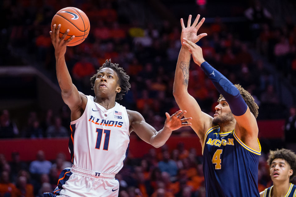 Illinois guard Ayo Dosunmu (11) goes up for a layup during the game against Michigan at State Farm Center on Thursday, Jan. 10, 2019.