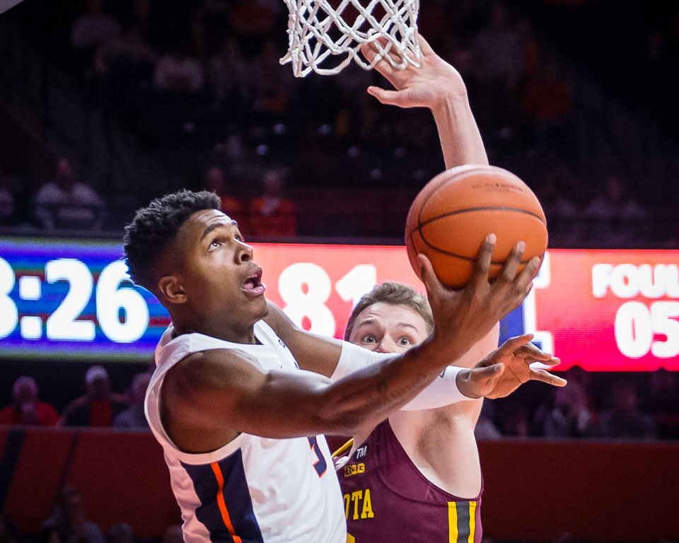 Illinois guard Tevian Jones (5) goes up for a reverse layup during the game against Minnesota at State Farm Center on Wednesday, Jan. 16, 2019.