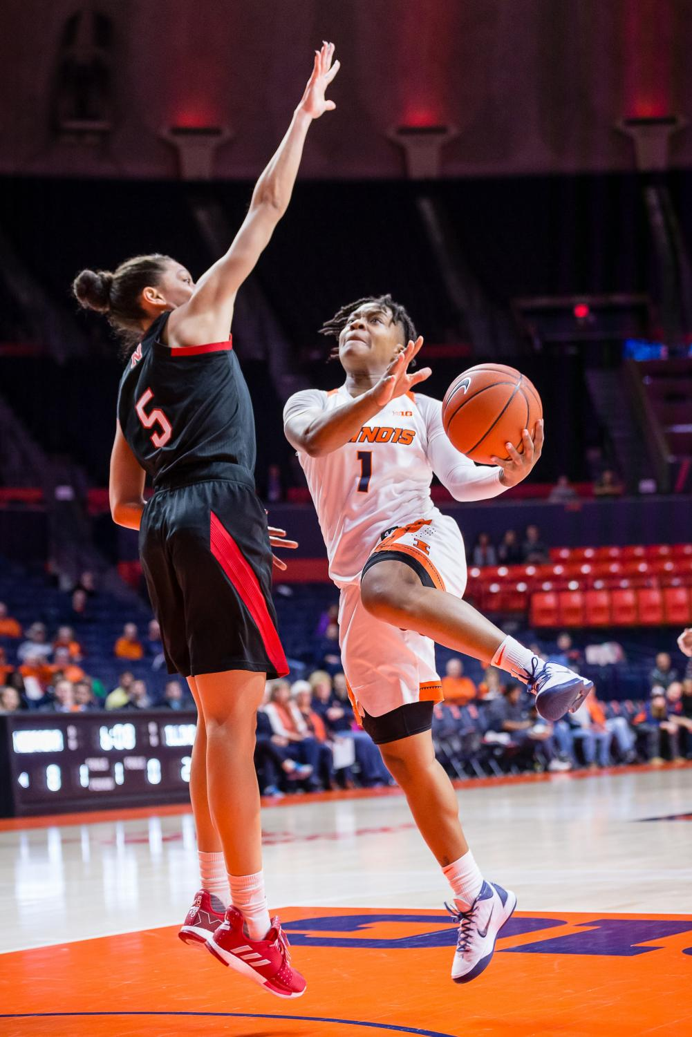 Illinois guard Brandi Beasley goes up for a layup during the game against Nebraska at the State Farm Center on Jan. 17. The Illini lost 77-67.