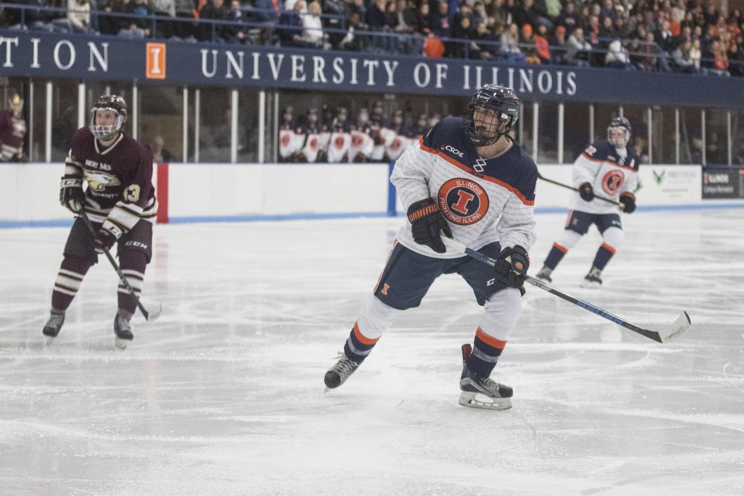 Mark Candotti calls for a pass from his teammate against Robert Morris at the Ice Arena on Nov. 2. Illinois shut out Robert Morris 6-0.
