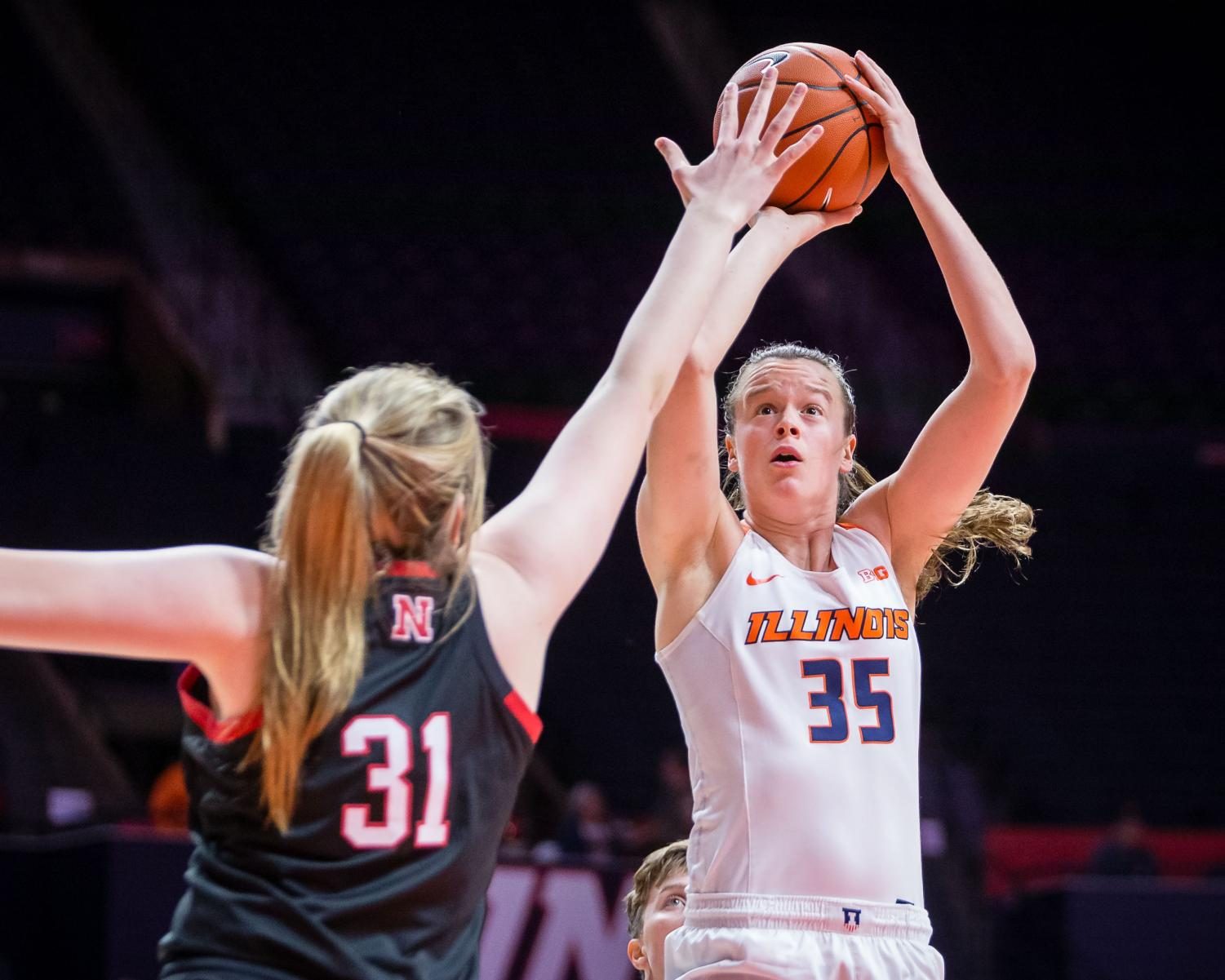 Illinois forward Alex Wittinger shoots the ball during the game against Nebraska at the State Farm Center on Jan. 17. The Illini lost 77-67. Illinois will be playing Ohio State on Thursday in hopes of breaking the Big Ten losing streak.