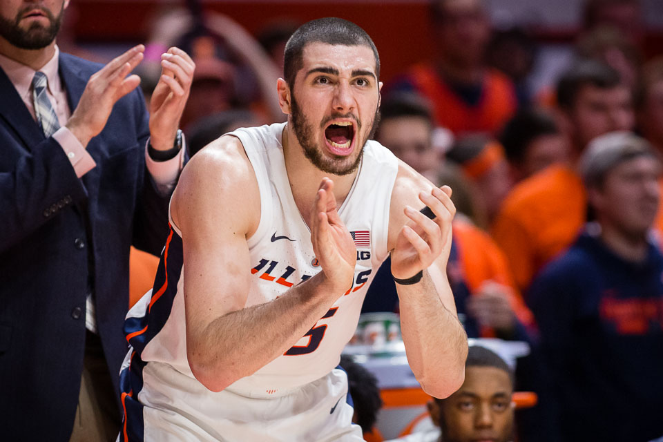 Illinois forward Giorgi Bezhanishvili (15) cheers on his team from the sideline during the game against Wisconsin at State Farm Center on Wednesday, Jan. 23. The Illini lost 72-60.