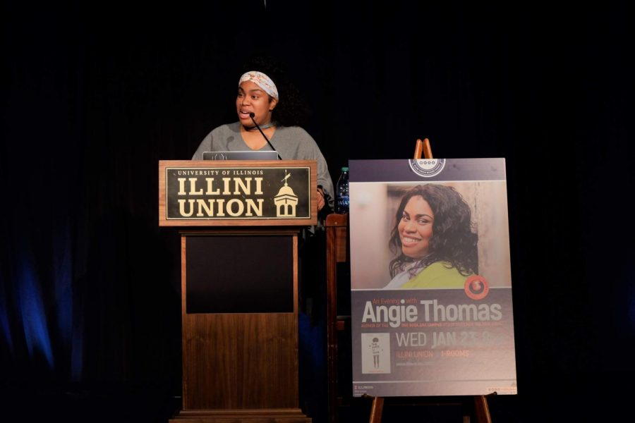 Angie+Thomas%2C+author+of+The+Hate+U+Give%2C+speaks+at+the+Illini+Union+on+Jan.+23.+