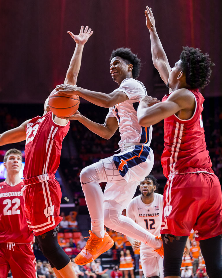 Illinois guard Trent Frazier draws contact on a layup during the game against Wisconsin at the State Farm Center on Jan. 23. The Illini lost 72-60.