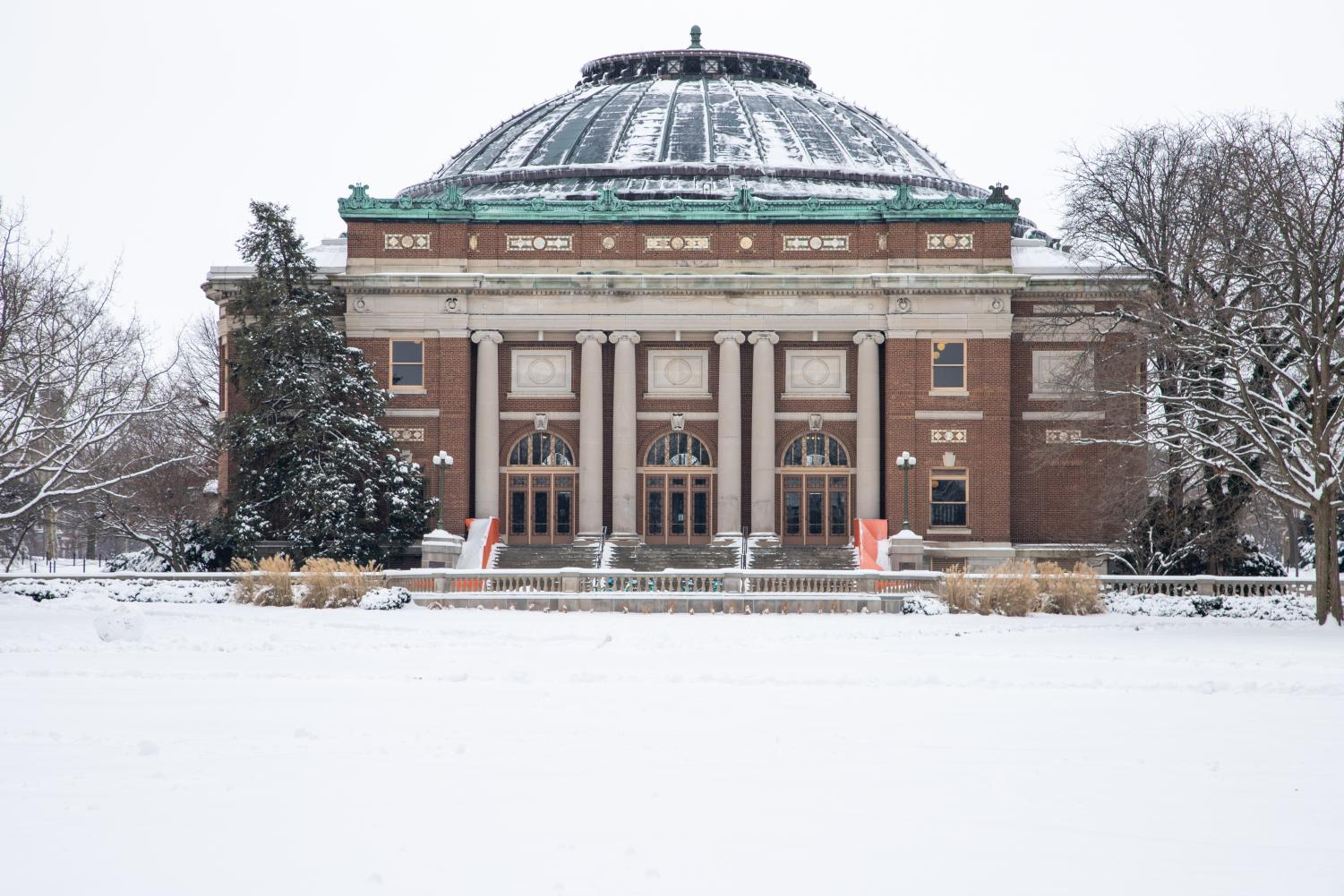 Foellinger Hall covered in snow on Jan. 13.