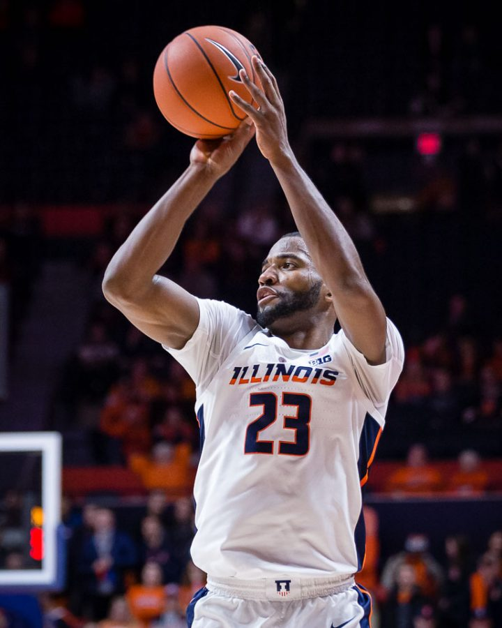 Illinois+guard+Aaron+Jordan+%2823%29+shoots+a+three+during+the+game+against+Wisconsin+at+State+Farm+Center+on+Wednesday%2C+Jan.+23%2C+2019.+The+Illini+lost+72-60.