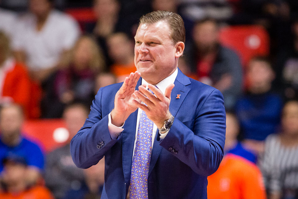 Illinois head coach Brad Underwood reacts to action on the court during the game against Wisconsin at State Farm Center on Wednesday, Jan. 23, 2019. The Illini lost 72-60.